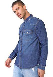 Camisa Jeans Calvin Klein Jeans Reta Estonada Azul