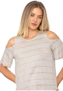 Blusa Dzarm Off Shoulders Cinza/Bege