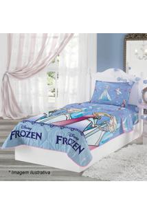 Edredom Dupla Face Frozenâ® Solteiro- Azul Claro & Lilã¡S