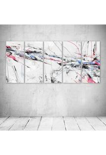 Quadro Decorativo - Abstract Paint Color Lines Spray Blue Pink Black - Composto De 5 Quadros
