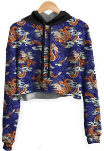Blusa Cropped Moletom Feminina Dragão Chinês Azul Md01 - Kanui