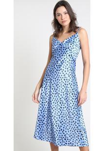 Vestido Slip Dress Feminino Mindset Midi Acetinado Estampado Animal Print Guepardo Alça Fina Azul