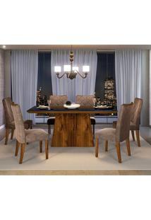 Conjunto Mesa Itália Tampo De Madeira 6 Cadeiras Dj Móveis Rustico Malbec