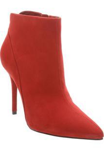 Ankle Boot Em Couro Com Recorte - Vermelha- Salto: 1Arezzo & Co.