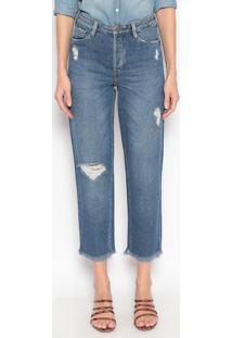 Jeans Reto Com Destroyed - Azuldudalina