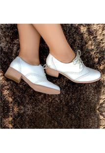 Sapato Oxford Feminino Em Couro - Branco - 3015
