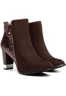Bota Atron Shoes Cano Curto Florenza Brilho Feminina - Feminino-Cafe