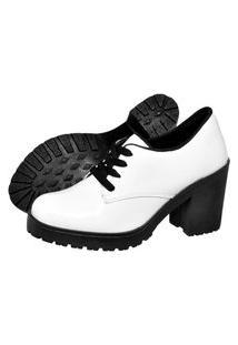 Botinha Oxford Ankle Boot Bota Salto Verniz Branca