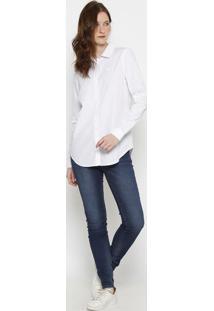 Camisa Regular Fit Listrada- Branca & Rosa Claro- Lalacoste