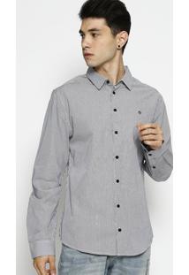 Camisa Smart Fit Listrada- Branca & Preta- Forumforum