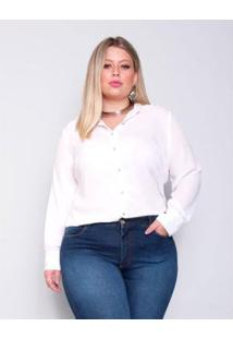 Camisa Plus Size Palank Granada Feminina - Feminino-Branco