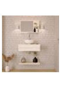 Conjunto Para Banheiro Bancada Com Cuba R30 Redonda, Prateleira E Espelheira City 606 Snow