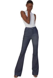 Calça Jeans Flare Listras