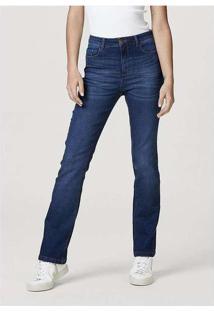 Calça Jeans Feminina Modelagem Reta Com Elastano A