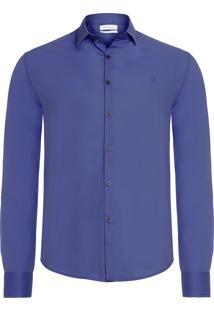 Camisa Masculina Manga Longa Slim Básica - Azul Marinho