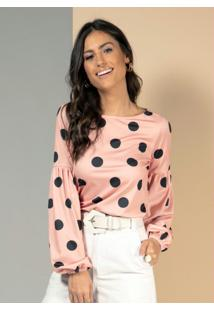 Blusa Poá Rosa Com Mangas Balonê