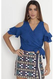 Blusa Cropped Com Bordado Operate Feminina - Feminino