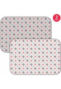 Jogo Americano Love Decor Quadrados Branco/Rosa
