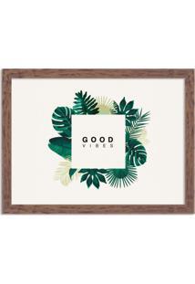 Quadro Decorativo Green Vibes Only Madeira - Médio