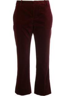 Saint Laurent Calça De Alfaiataria Cropped - Vermelho