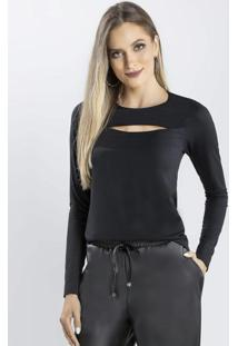 Blusa Com Decote Vazado Preto