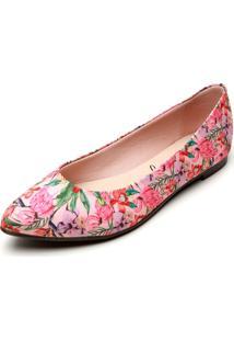 Sapatilha Moleca Floral Rosa