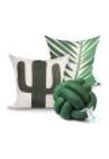 Capa Almofada Decorativa Cacto Verde Estampada Microfibra Kit 2 Capas + Almofada Nó Escandinavo