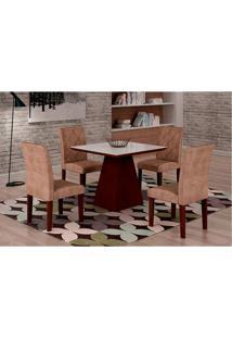 Conjunto De Mesa De Jantar Luna Com 4 Cadeiras Ane Suede Animalle Castor, Branco E Chocolate