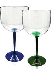 Kit 2 Taças Gin Bicolor Azul E Verde Acrílico Krystalon