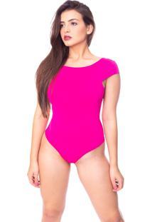 Body Moda Vicio Manga Curta Decote Costas Com Bojo Pink - Kanui