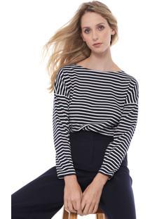 Camiseta Lacoste Listras Azul-Marinho/Branca