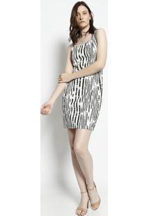 Vestido Texturizado & Abstrato - Off White & Preto- Moisele