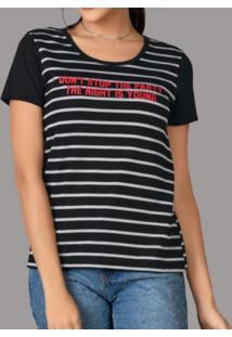 Camiseta Modapop Listrada Preta