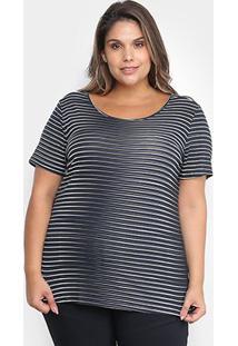 Blusa Cativa Listrada Plus Size Feminina - Feminino-Marinho
