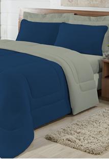 Edredom Solteiro Casa Modelo Dupla Face Malha 100% Algodão 1 Peça - Azul/Cáqui