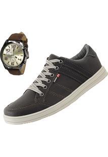 Sapatênis Cr Shoes Leve E Baixo Café Com Relógio