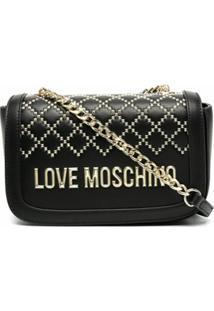 Love Moschino Bolsa Transversal Com Tachas E Logo - Preto