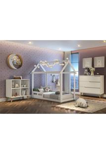 Dormitório Ravi Comoda 3 Gavetas Comoda Montessoriana Cama Casinha Montessoriana Carolina Baby Branco