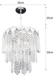 Lustre Pendente De Cristal Acrílico Alto Brilho 42X75 Lina Design Ac09 - Kanui
