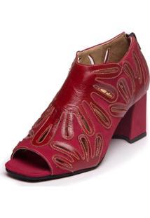 Sandalia Ankle Boot Vermelha - Amora / Marsala - Sophia 6004 - Kanui