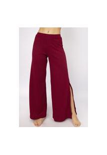 Calça Flare Pantalona Vekyo Cintura Alta Com Fenda Vinho