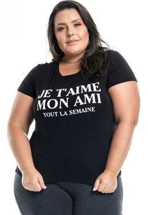 Blusa Miss Masy Plus Mon Ami Preto Xlg - Preto - Feminino - Dafiti
