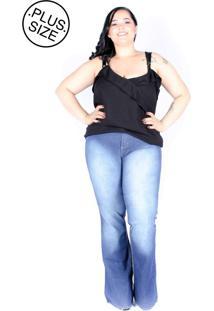 Calça Jeans Mix Jeans Flare Plus Size Azul