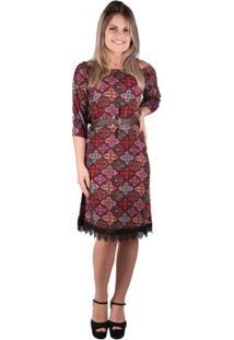 Vestido Cigana Com Guipir - Banna Hanna - Feminino-Preto+Vinho