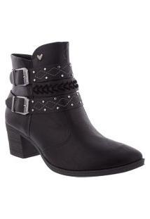Ankle Boots Mississipi Salto Grosso Com Fivela Preto