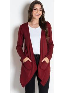 Cardigan Assimétrico Bordô