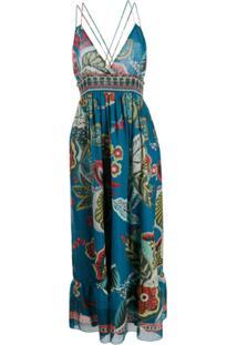 Redvalentino Vestido Longo Com Estampa Floral - Azul