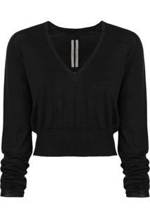Rick Owens Suéter Cropped De Lã Virgem - Preto