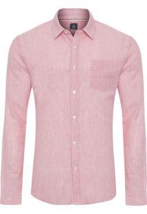 Camisa Masculina Striped Cotton Linen - Vermelho