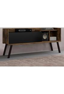 Rack Para Tv 1 Porta Nix Canela Rústico/Preto - Colibri Móveis
